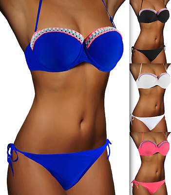 DAMEN NECKHOLDER BIKINI PUSH UP SET TOP HOSE AUSWAHL FARBEN PUSHUP XS S M L XL