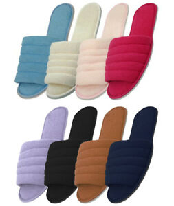 Women-039-s-Cotton-House-Terry-Slippers-Black-White-Blue-Pink-Red-Sizes-M-L-XL-New