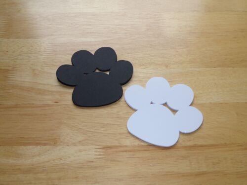 20 Cardstock Black White 4 Inch Puppy Paws Dog Paw Prints Dog Birthday Party