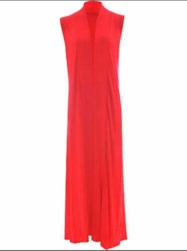 New Ladies Womens Sleeveless Front Open Long Length Boyfriend Maxi Cardigan 8-26