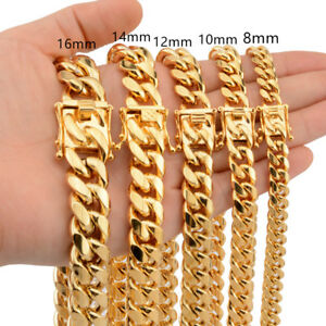 Mens-Miami-Cuban-Link-Bracelet-or-Chain-Necklace-18k-Gold-Plated-Stainless-Steel