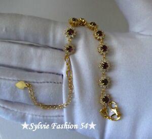 ???? Magnifique bracelet ciselé argent 925 et or Grenat et brillants zc