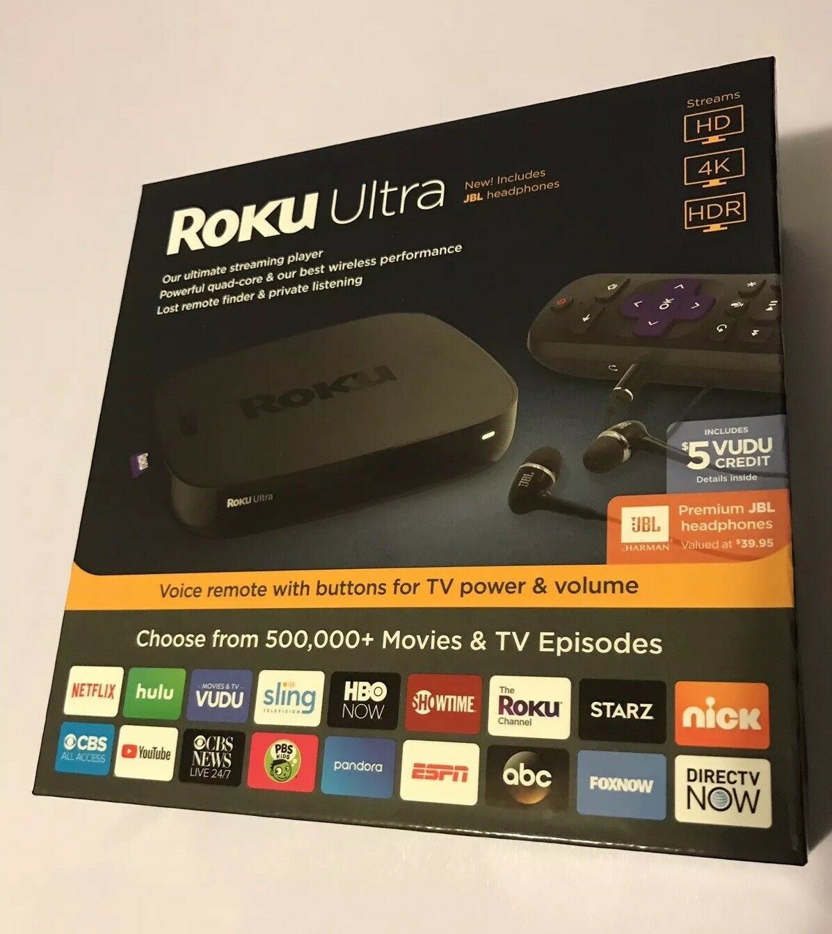 s-l1600 Roku Ultra 4K HD HDR Streaming Player with Premium JBL Headphones