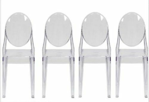 Set Of 4 Modern Ghost Side Chair In Transparent Crystal / Dining Table  Chairs