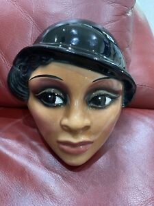 Ceramic-African-American-Lady-Face-Mask-Hanging-Wall-Art
