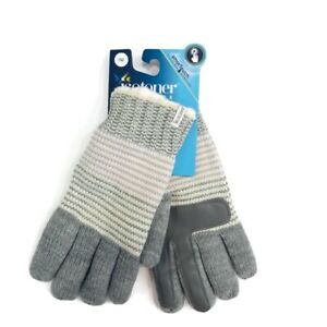 Isotoner-Womens-One-Size-Winter-Gloves-Gray-Knit-Faux-Sherpa-Lined-Smart-Touch