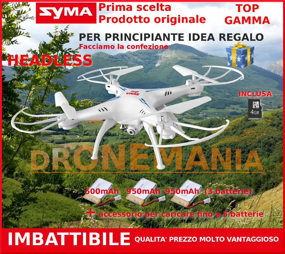 DRONE 2,4- GHZ SYMA X5SC TRE 3 BATTERIE TELECAMERA HD UPGRADE VERSION LUCI LED
