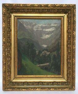 HUILE-SUR-PANNEAU-PAR-B-S-LE-VILLAGE-ET-LE-CIRQUE-DE-GAVARNIE-1910-DORURE-H394