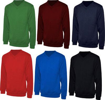 Kids Boys Girls Womens Mens Childrens School Work V Neck Sweatshirt Jumper Top