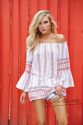 ELAN RYP555 White Red Printed RUFFLE BELL SLEEVE OFF SHOULDER TUNIC or Dress OS