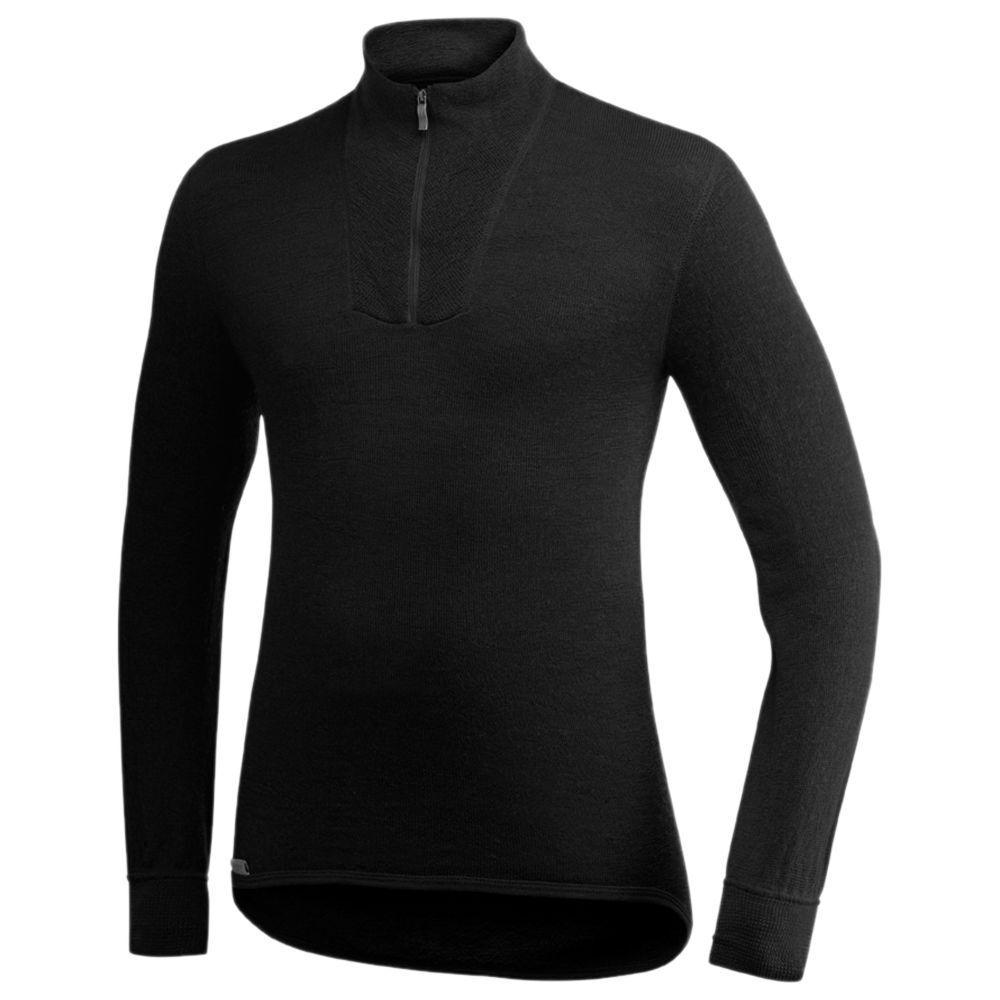 Woolpower Poloshirt Polohemd langarm Herren Polo Merinowolle 200 schwarz