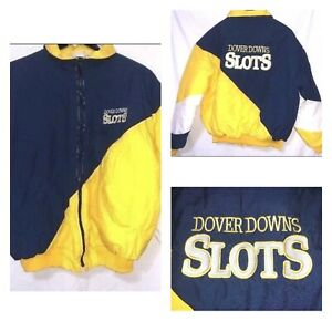 Dover-Downs-Casino-Slots-Delaware-Blue-Yellow-White-Puffy-Coat-Jacket-Size-Large