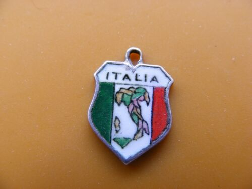 VINTAGE 800 /& STERLING SILVER CHARM CHARMS UK /& EUROPE TRAVEL SHIELD 15