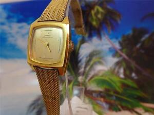Elegant-Beautiful-Gold-Plated-Gold-Dial-Girard-Perregaux-Ladies-039-21mm