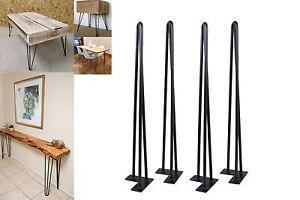 "30'' Set of 4 Hairpin Coffee Table Legs 1/2"" Solid Steel DIY 3 Rods Table Legs"