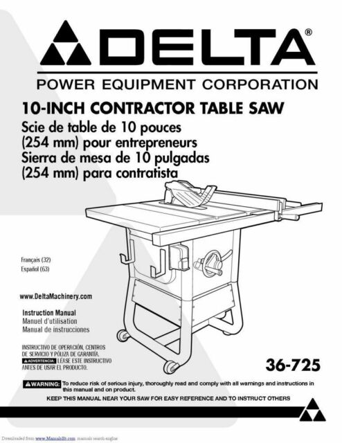 NEW Delta 36-725 Contractor Saw Owners Instruction Manual FREE SHIPPING