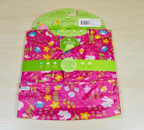 NEW Green Sprouts I Play Easy-wear Long Sleeve Bib in Green//Pink 2-4 years