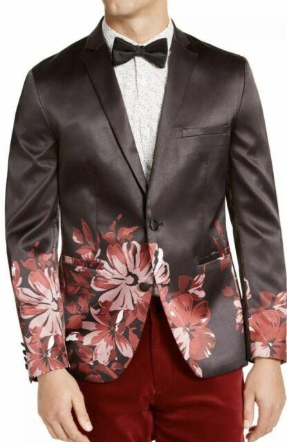 INC Mens Blazer Black Size Medium M Slim Floral Print One-Button $149 #409
