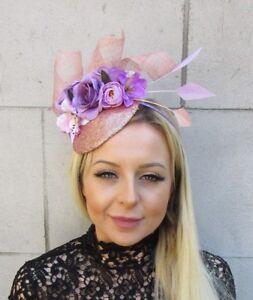 Lilac Purple Rose Gold Flower Pink Feather Hat Hair Fascinator Races ... 4ef537df7af