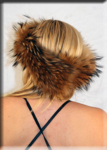 New Gold Finnish Raccoon Fur Headband 25 Inches Long and 5 Inches Wide