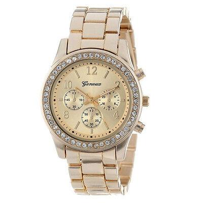 Faux Chronograph Quartz Classic Round Ladies Women Crystals Watch часыBeliebt