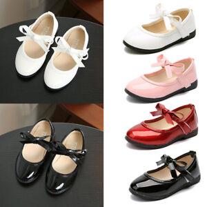 Kids-Toddler-Girls-School-Flat-Shoes-Bowknots-Princess-Wedding-Party-Dress-Shoes