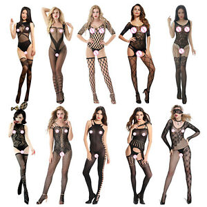 db2029621 Image is loading Women-Lingerie-Bodystocking-Sexy-Perspective-Underwear -Babydoll-Party-