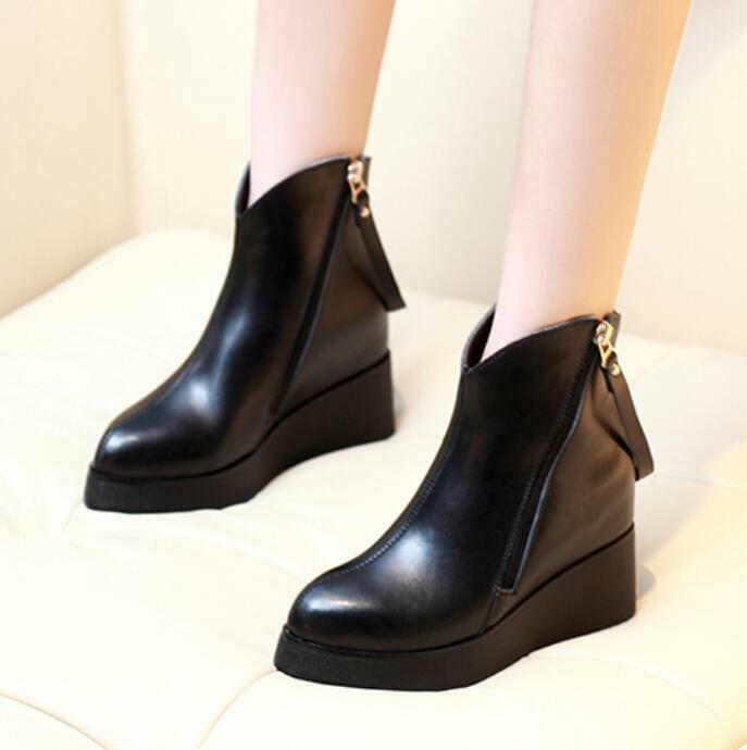 Fashion Women Wedge Hidden Heel Pointy Toe Ankle Boots Zip shoes  Faux Leather