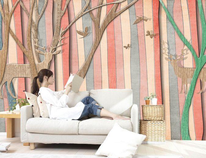 3D legno colore 33 Parete Murale Carta da parati immagine sfondo muro stampa