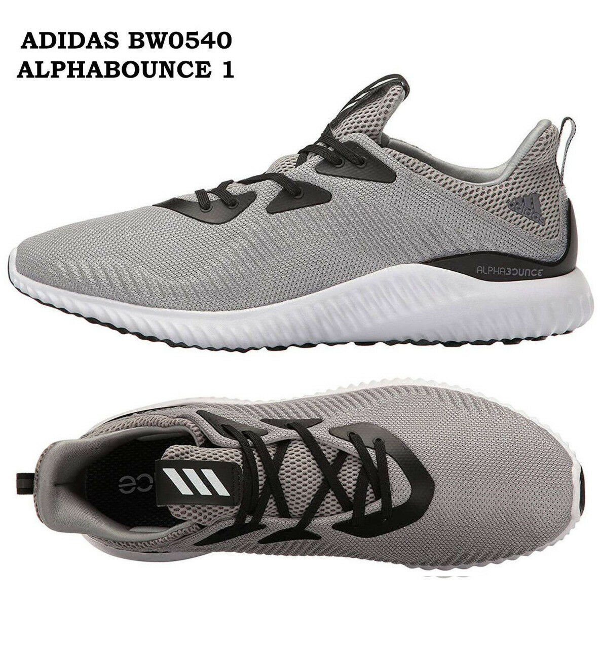 Mens ADIDAS ALPHABOUNCE 1 BW0540 Grey Road Running shoes Mens Sneakers NEW