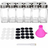 Spice Jars Bottles - 12 Square Glass Containers (4 Oz) With Chalkboard Labels...