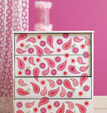 WALLIES PAISLEY wall stickers 25 prepasted paisle decals pink purple room decor