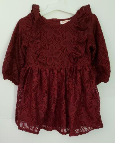 Cat /& Jack Toddler GIRLS  Teal Floral Lace Dress Holiday Burgundy long sleeve 3T