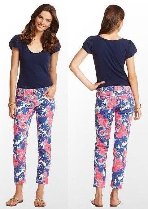 158 Lilly Pulitzer Worth Skinny Mini Multi Jardin Secret Floral Cropped Jeans
