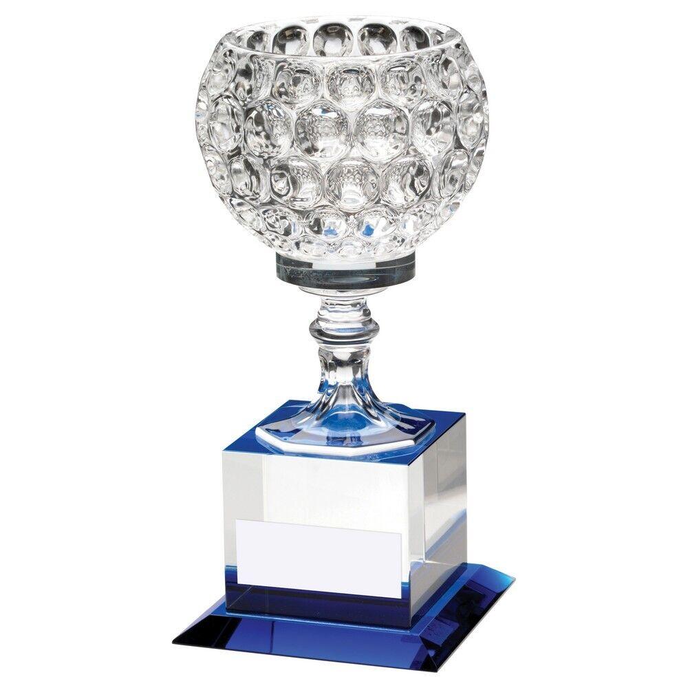 Superb bluee & Clear Glass Trophy Award Heavyweight 197mm Free Engraving(JB50A)td