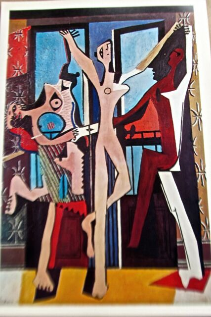 PABLO PICASSO print Cubist THREE DANCERS Colorful and Festive