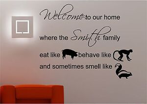 PERSONALISED KITCHEN WALL STICKERS FAMILY DECALS