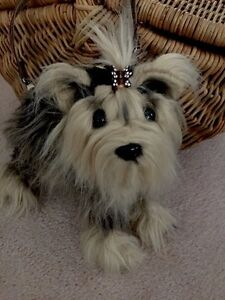 Adorable,rare Fuzzy Nation 'Love on a leash' Yorkie' Puppy Purse Handbag