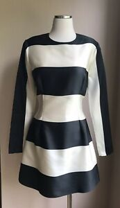 Stella-McCartney-Satin-Ivory-Black-Stripe-A-line-Dress-Size-IT-42