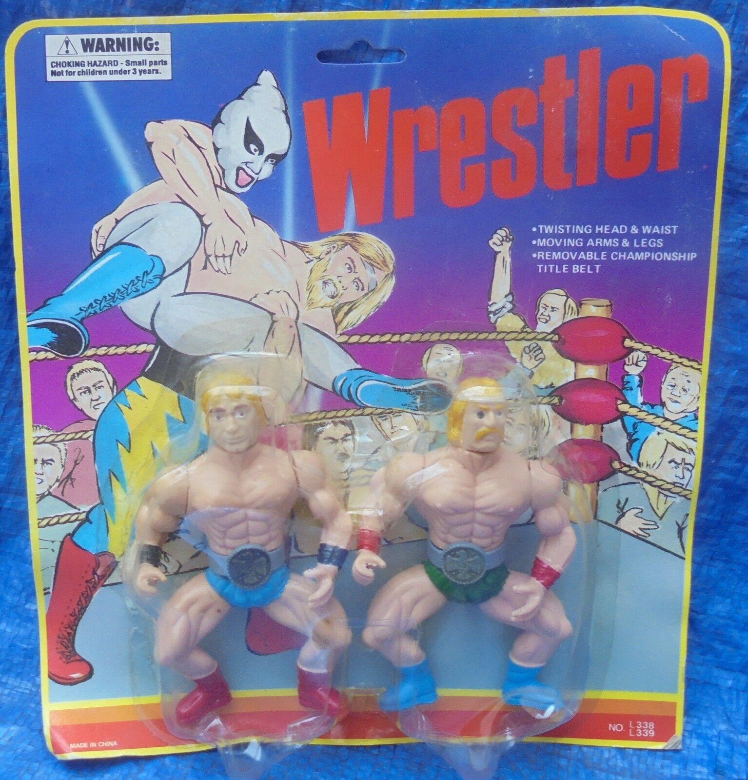 Lutteur Comme neuf on Card Comme neuf en paquet de 2 sacs vintage collectble années 1980 Wrestling Champions Vintage Hard To Find