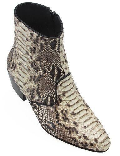 Los Altos Natural Genuine Python Ankle Boot Medium Round Toe Side Zipper D