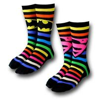 Batman Superman Socks 2 Pack Rainbow Stripe Dc Comics