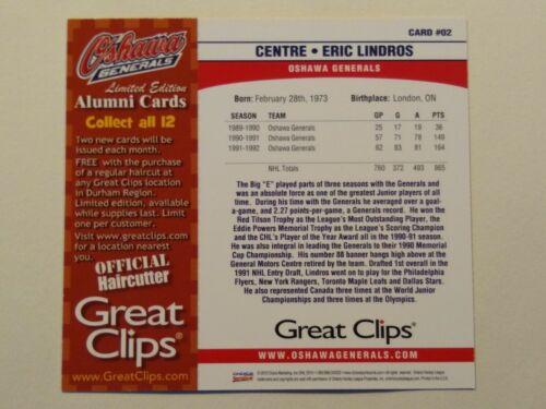 2010-11 clips de gran Oshawa generales Alumni-Bobby Orr y Lindros tarjeta