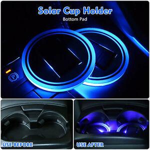 Neu-Solar-KFZ-Untersetzer-LED-helle-Tasse-Becherhalter-Flasche-Untersatz-Blau-2x
