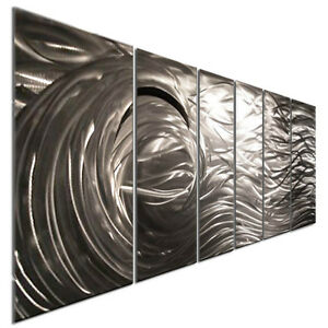 Image Is Loading Abstract Brushed Metal Wall Art Silver Wave