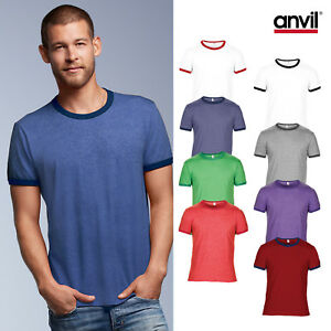 eb9111cd2 Anvil Adult Fashion Basic Ringer Tee 988 - Men Two Toned Cotton ...
