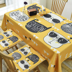 Details About Yellow Cool Cat Linen Desk Cover Cloth Tablecloths Kitchen Coffee Table Covers
