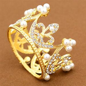Wedding-Bridal-Crown-Jewelry-Pearl-Queen-Princess-Crown-Crystal-Hair-Accessor-ln