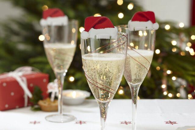 Günstige Weihnachtsfeier.10 Weihnachtsmannmützen Weihnachtsdeko Gläser Tischdekoration Weihnachtsfeier