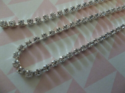 Choose Length 2mm Clear Rhinestone Chain Silver Setting Czech Crystals